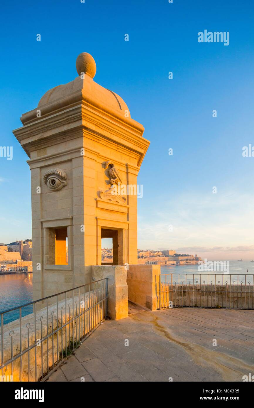Malta,Valletta,listed as World Heritage by UNESCO,the Three Cities,Senglea,the Gardjola watchtower - Stock Image