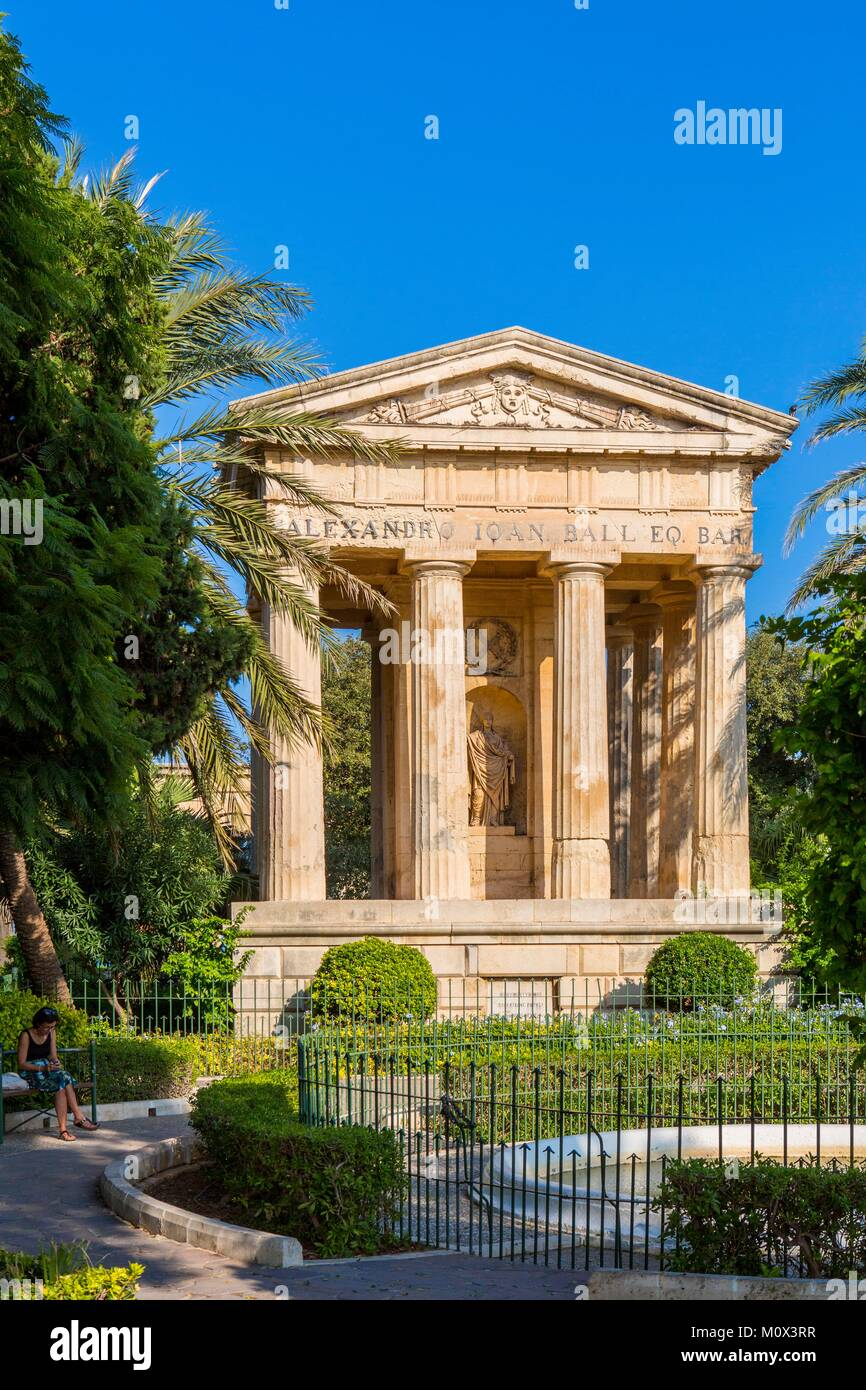 Malta,Valletta,listed as World Heritage by UNESCO,Lower Barraca gardens,monument to Sir Alexander Ball,first Governor - Stock Image
