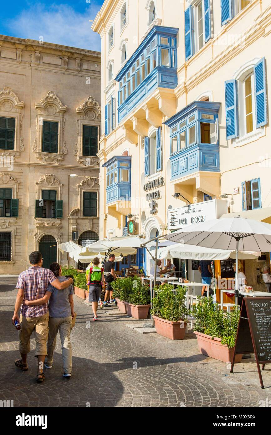 Malta,Valletta,city listed as World Heritage by UNESCO,city centre,Castile Hotel - Stock Image