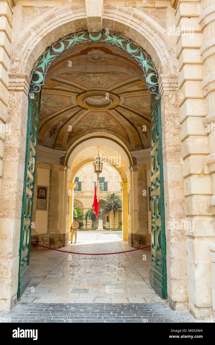 Malta,Valletta,listed as World Heritage by UNESCO,entrance to the Presidential palace - Stock Image