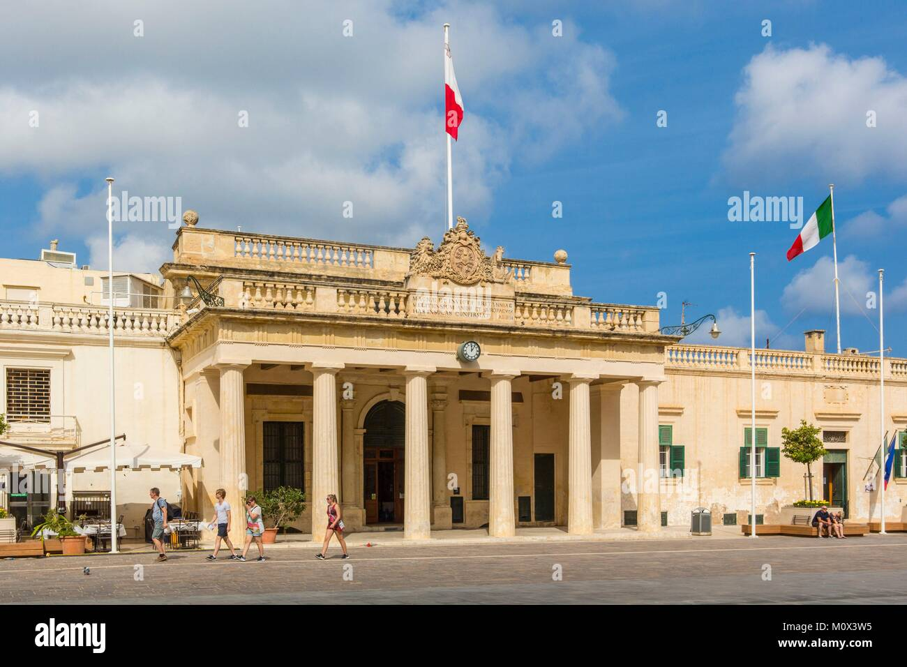 Malta,Valletta,listed as World Heritage by UNESCO,Presidential palace square - Stock Image
