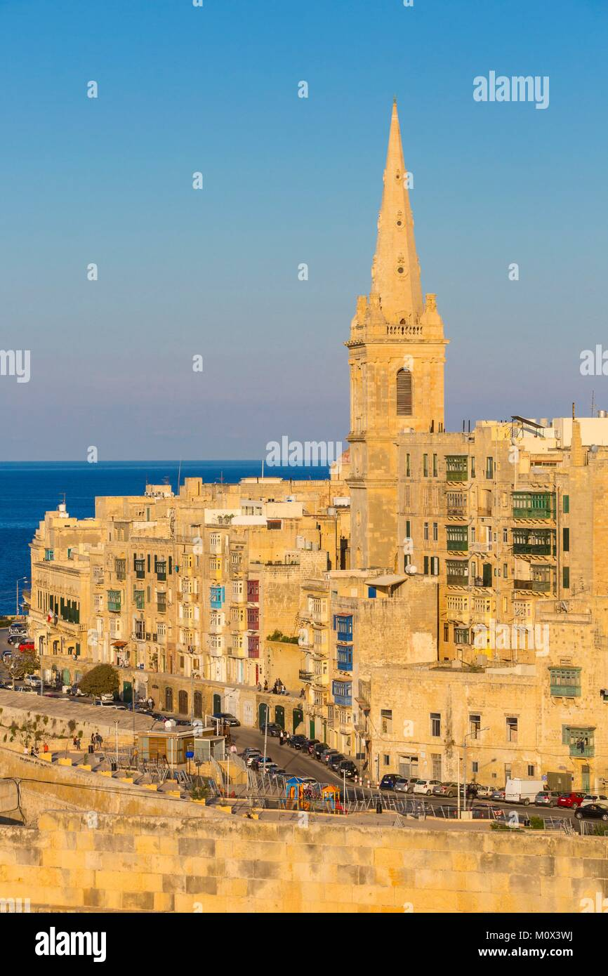 Malta,Valletta,listed as World Heritage by UNESCO,the Anglican church of Saint Paul - Stock Image