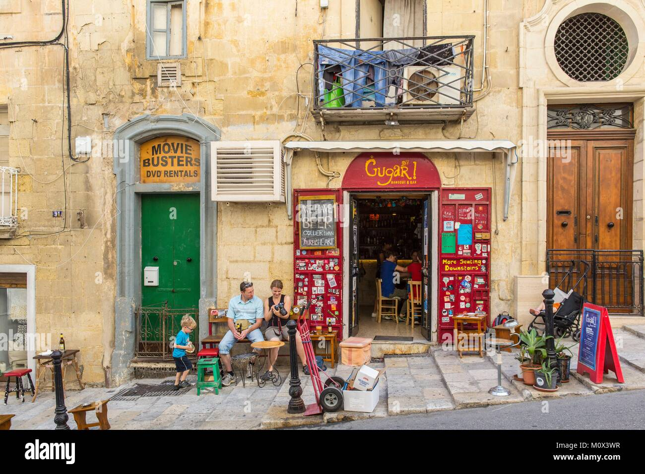 Malta,Valletta,listed as World Heritage by UNESCO,Republic street,typical cafe - Stock Image