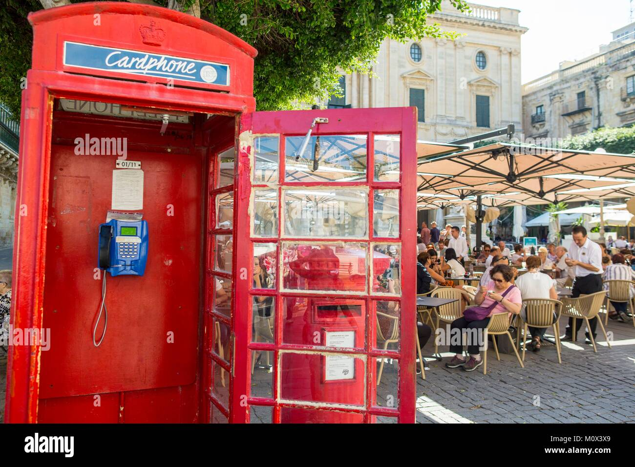 Malta,Valletta,listed as World Heritage by UNESCO,telephone booth and English mailboxes - Stock Image