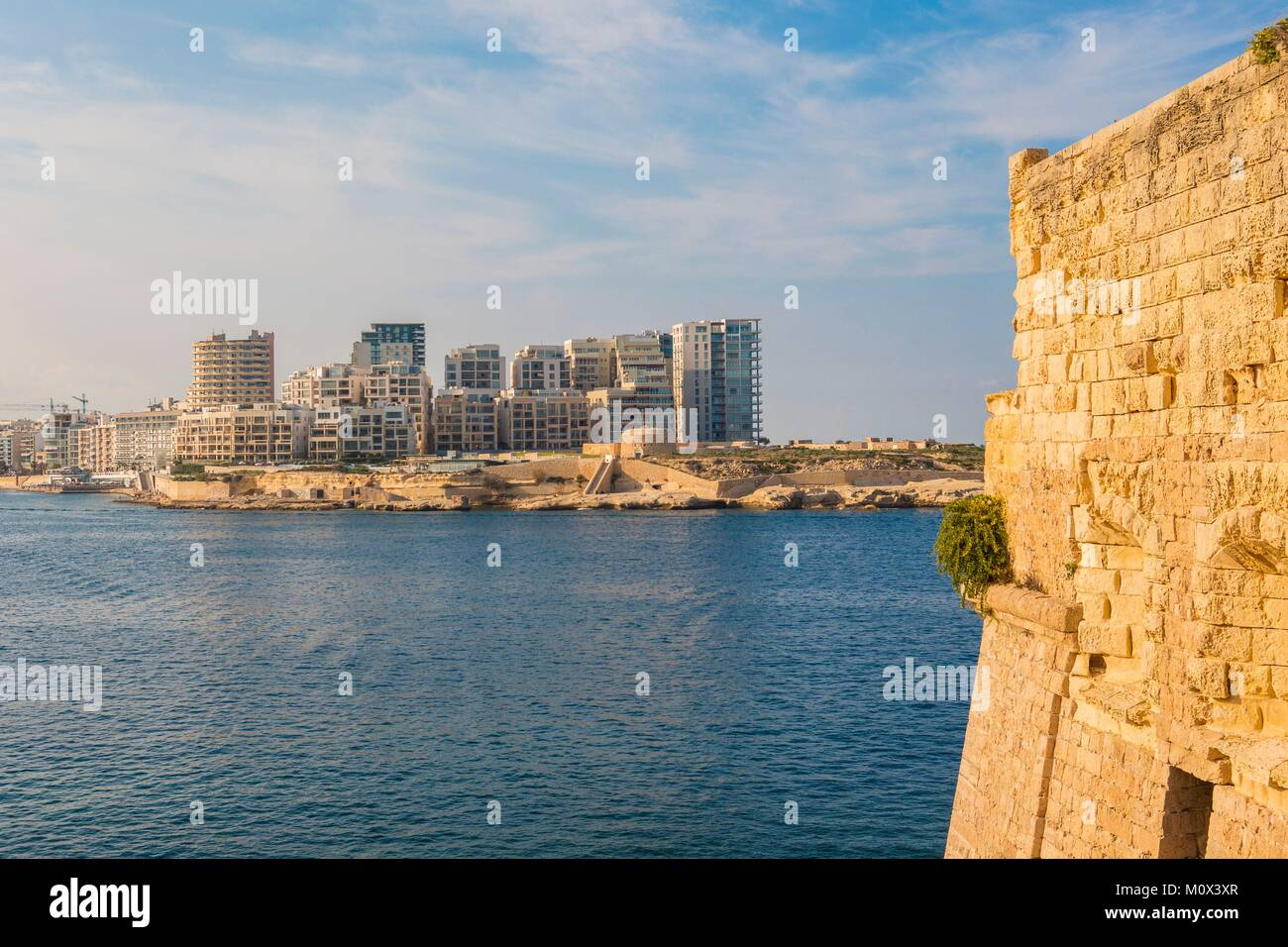 Malta,Valletta,listed as World Heritage by UNESCO,the buildings of Sliema - Stock Image
