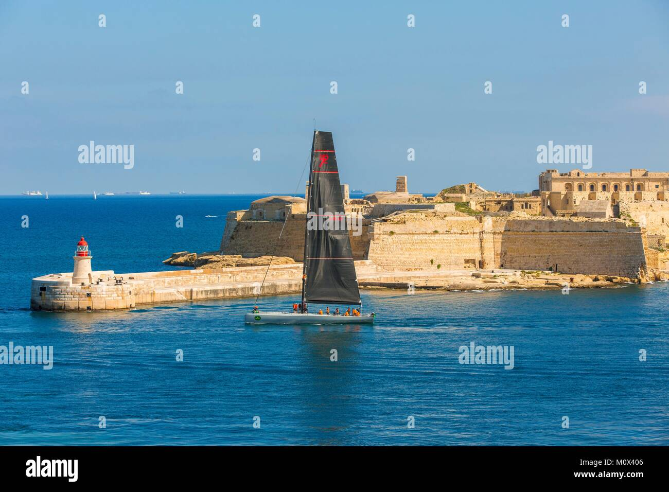 Malta,Valletta,listed as World Heritage by UNESCO,the entrance to Grand Harbour and fort Ricasoli - Stock Image