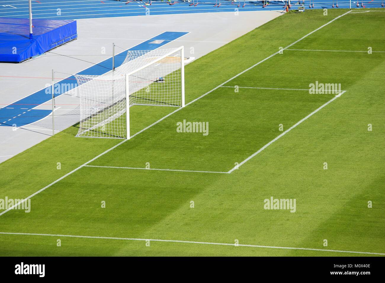 grass soccer field with goal. Football Pitch - Soccer Field With Goal Area. Grass