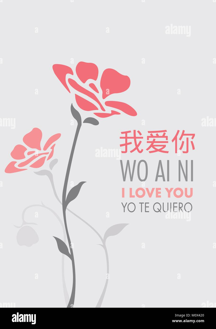 Phrase I Love You In English Spanish And Chinese Mandarin Decorated Stock Vector Image Art Alamy