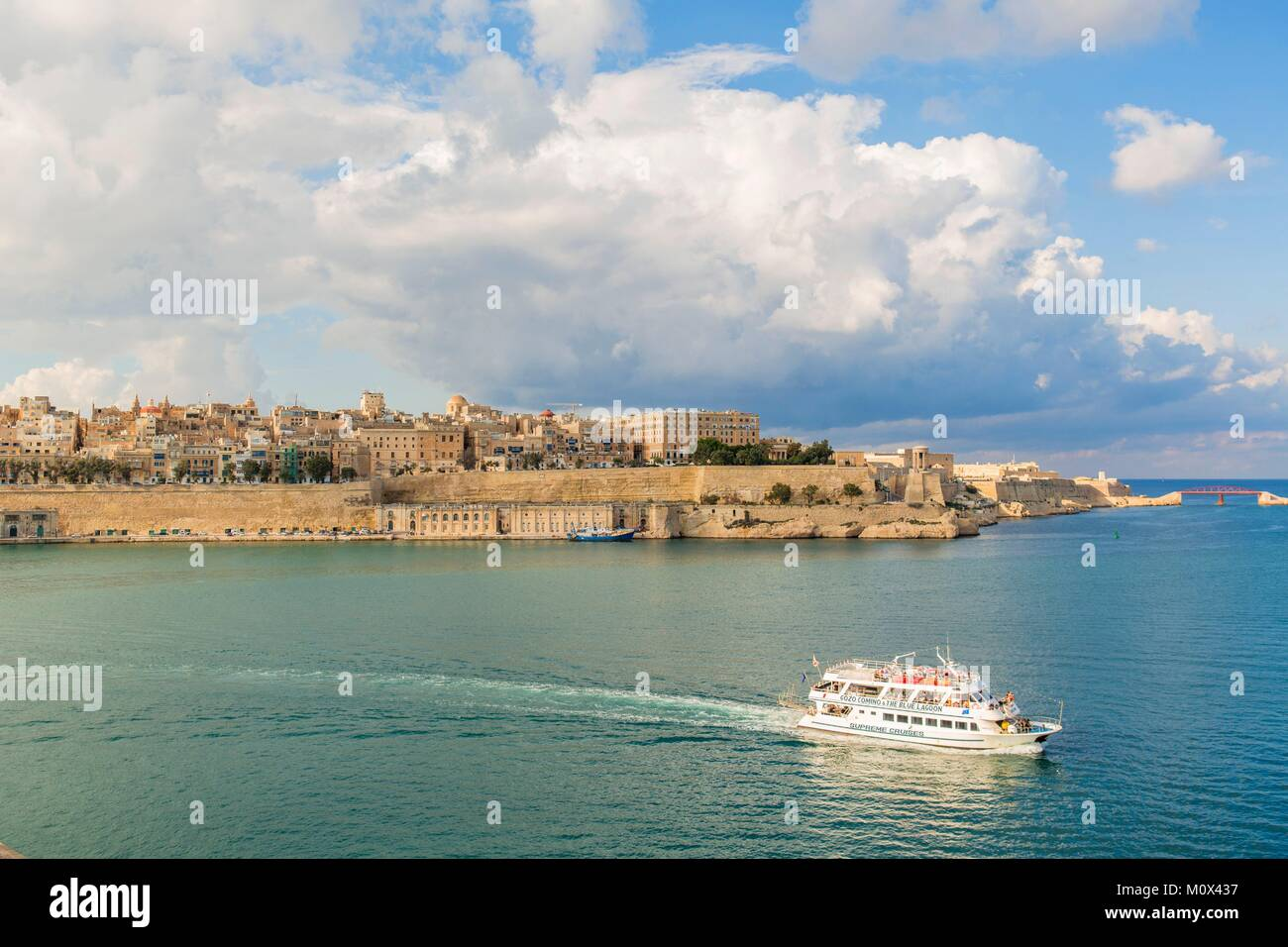 Malta,Valletta,listed as World Heritage by UNESCO,Grand Harbour - Stock Image