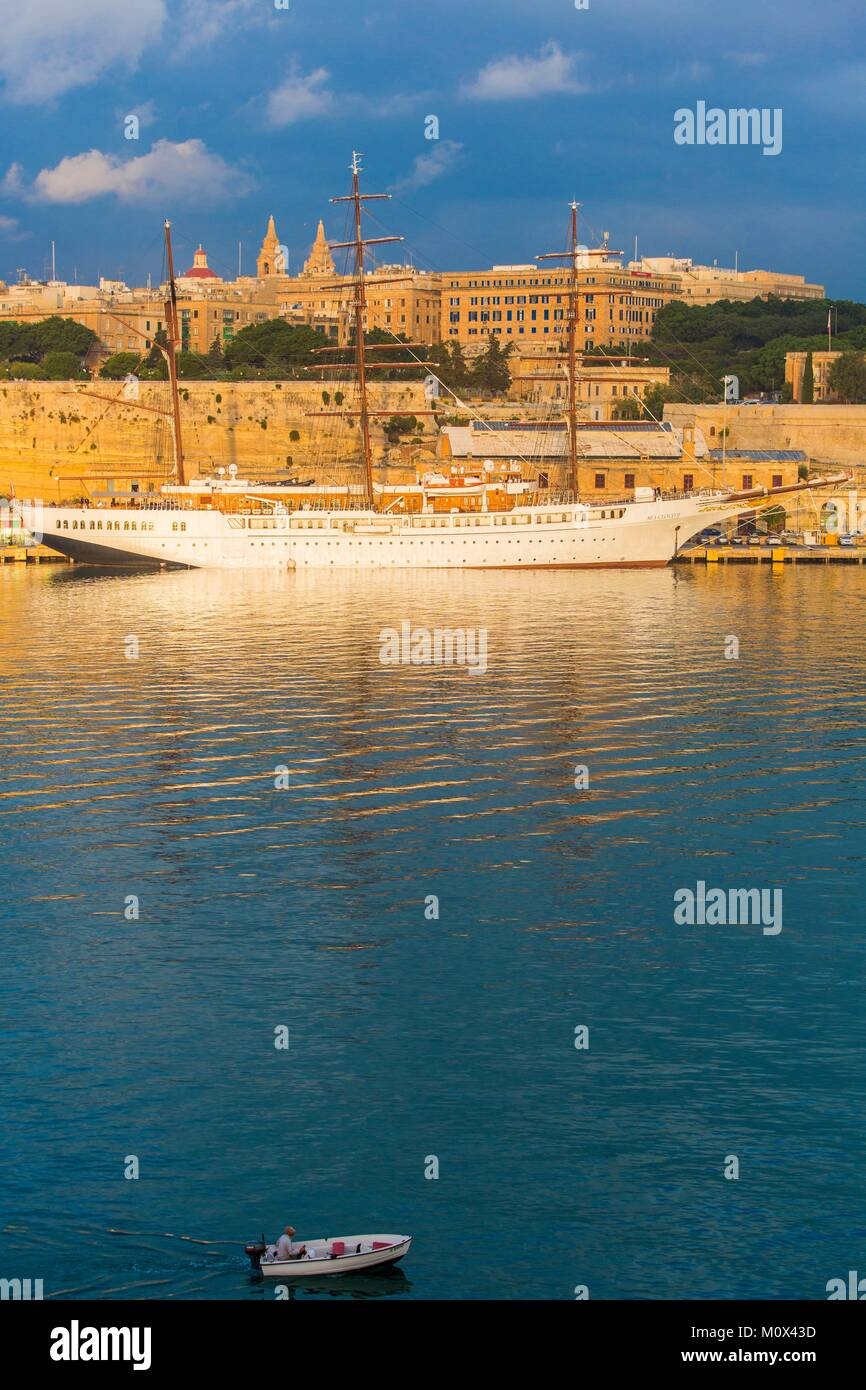 Malta,Valletta,listed as World Heritage by UNESCO,Grand Harbour,cruising sailboat - Stock Image