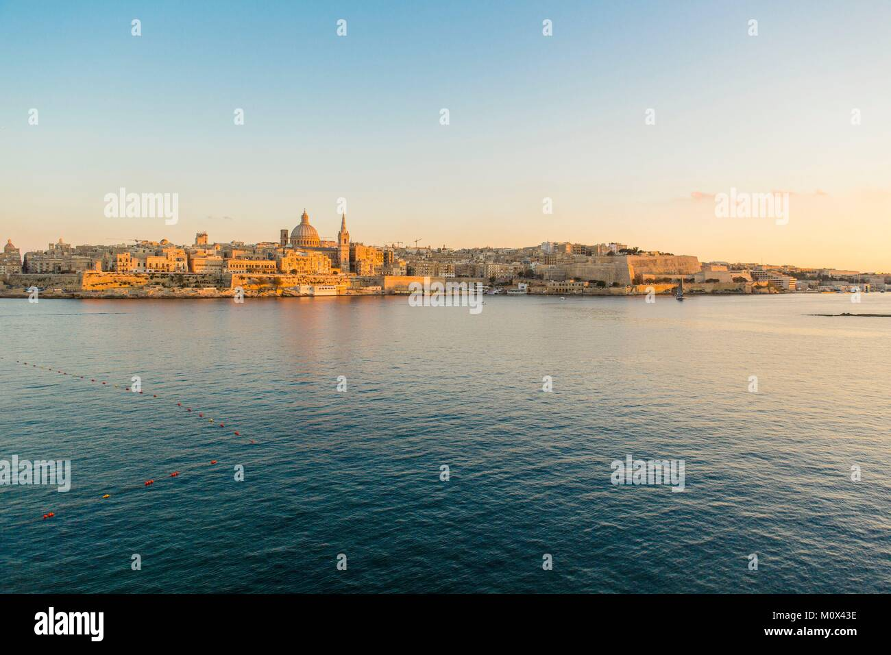 Malta,Valletta,listed as World Heritage by UNESCO,seen from Sliema - Stock Image