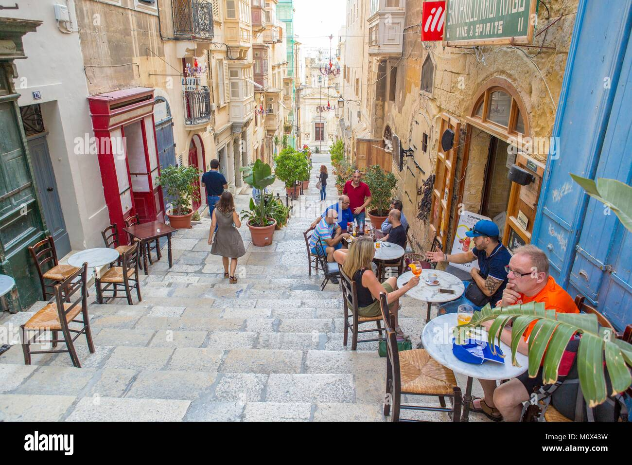 Malta,Valletta,city listed as World Heritage by UNESCO,downtown cafe - Stock Image