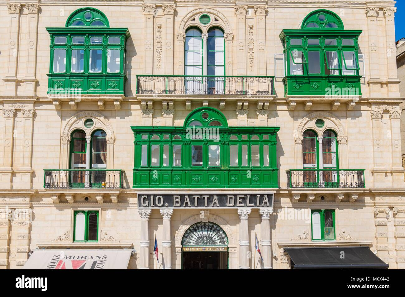Malta,Valletta,listed as World Heritage by UNESCO,city centre,typical dwelling with bow-windows or wooden balconies - Stock Image