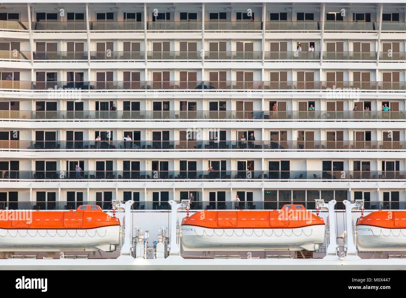 Malta,Valletta,cabins of an MSC cruise liner - Stock Image