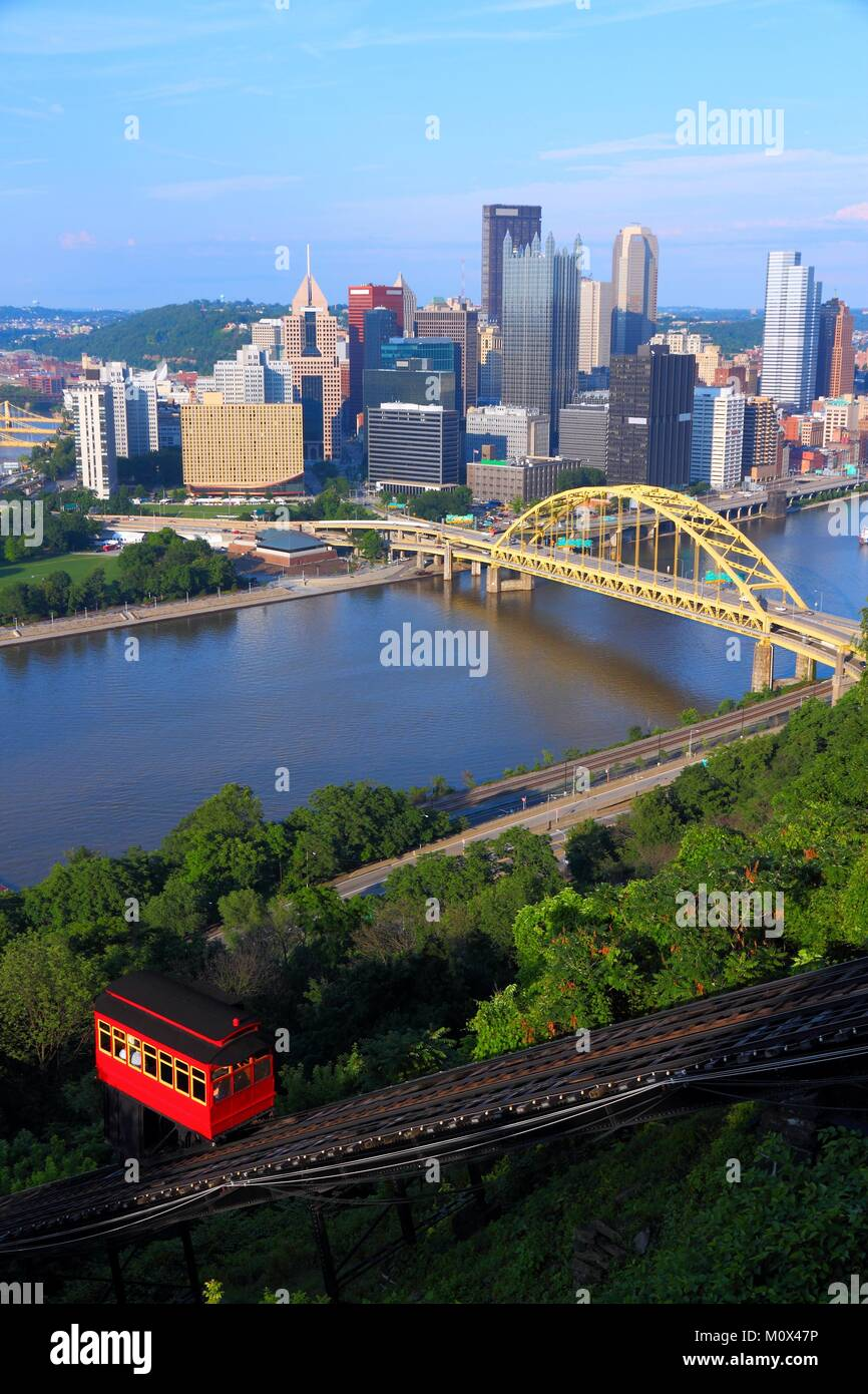 Pittsburgh, Pennsylvania - city in the United States. Skyline with Monongahela River and Duquesne Incline funicular - Stock Image