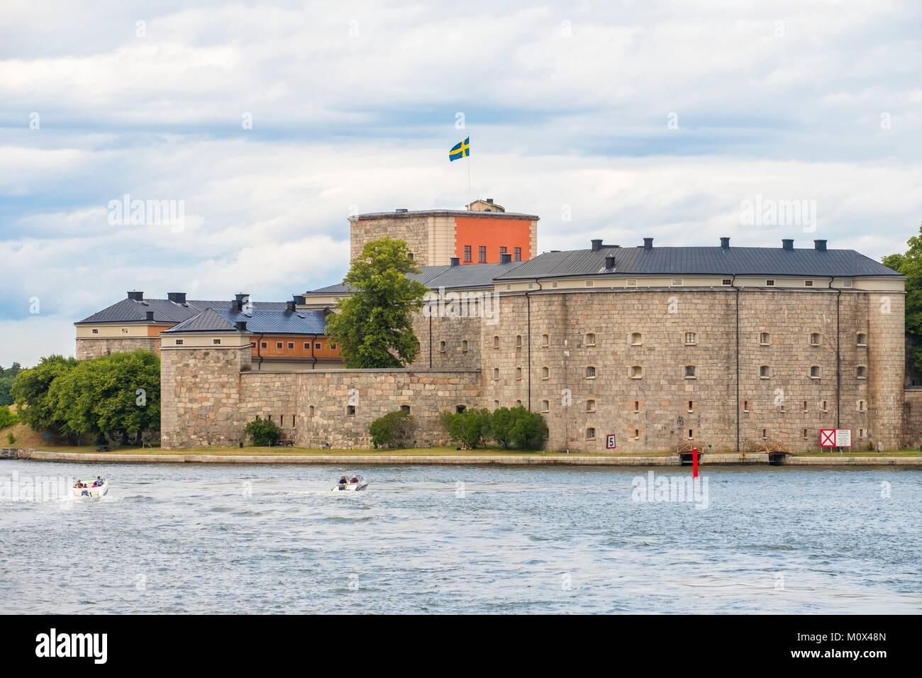 Sweden,Stockholm archipelago,Vaxholm,Fortress Castle built on an islet - Stock Image