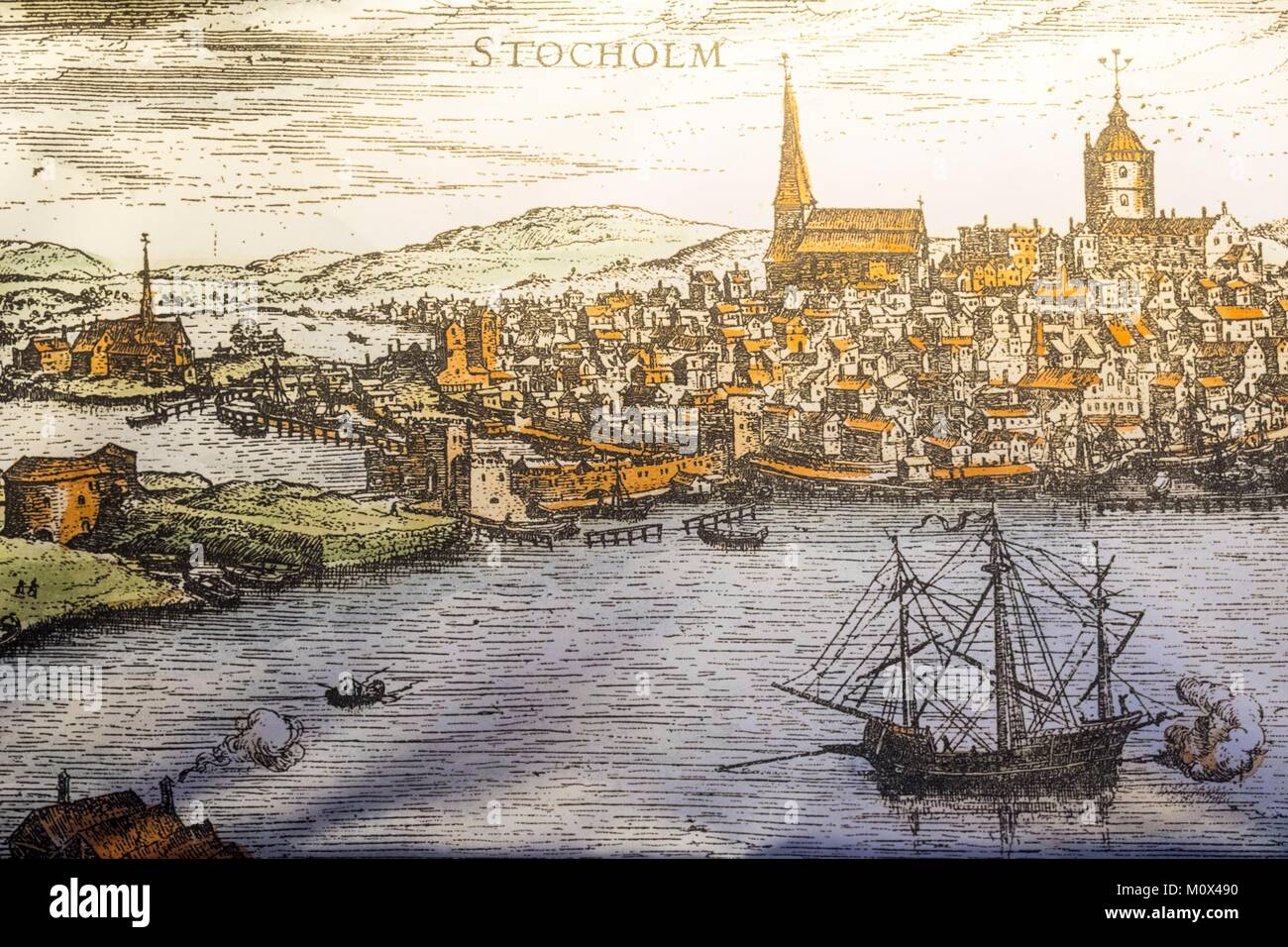 Sweden,Stockholm archipelago,Vaxholm,Fortress Castle,ancient map of Stockholm - Stock Image