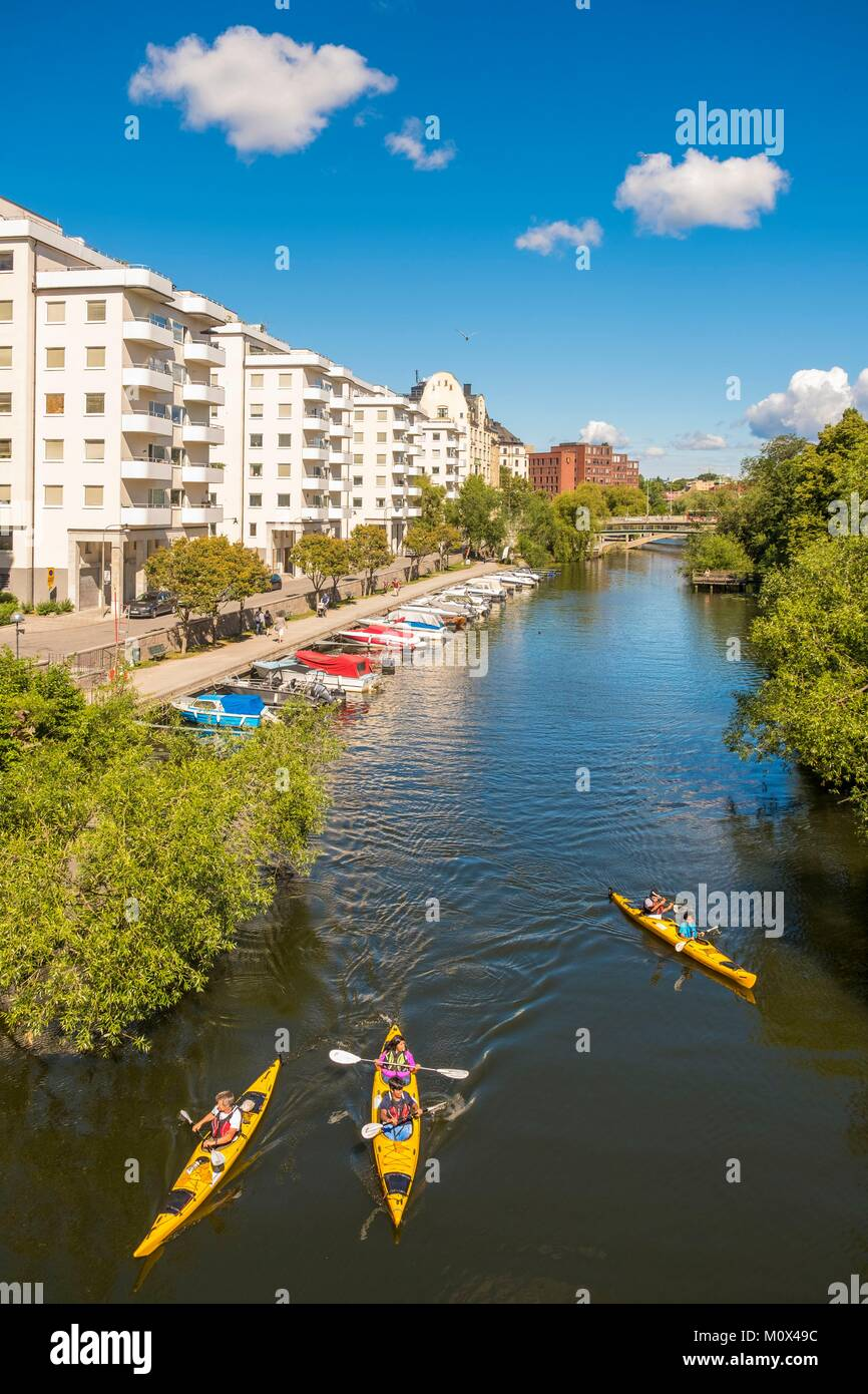 Sweden,Stockholm,Norrmalm district,along the Klara Sjo Canal,kayak and canoe - Stock Image