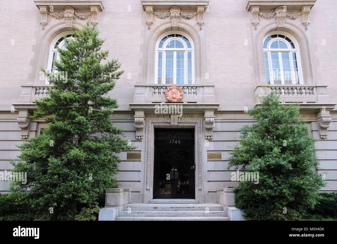 WASHINGTON - JUNE 14: Embassy of the Republic of Uzbekistan on June 14, 2013 in Washington. It is part of famous - Stock Image