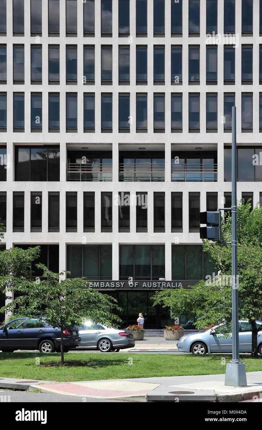 WASHINGTON - JUNE 14: Woman walks past Embassy of Australia on June 14, 2013 in Washington. It is part of famous - Stock Image