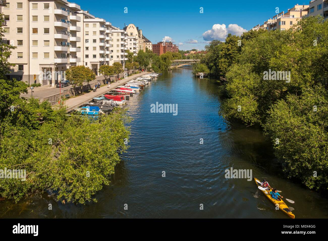 Sweden,Stockholm,Norrmalm district,along the Klara Sjo Canal Stock Photo