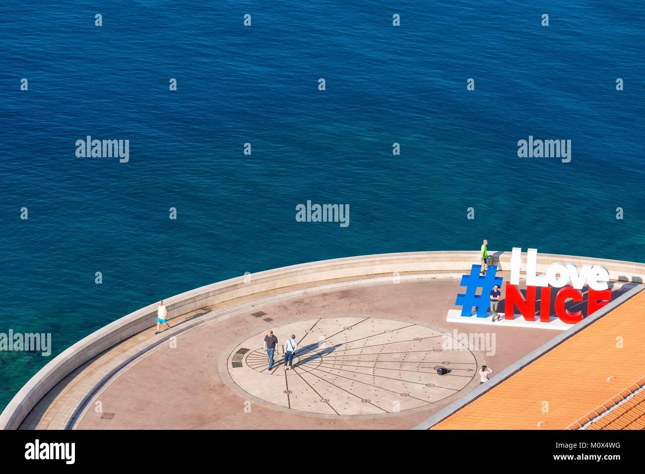 France,Alpes Maritimes,Nice,Pointe des Ponchettes,quai Rauba Capeu,sundial - Stock Image