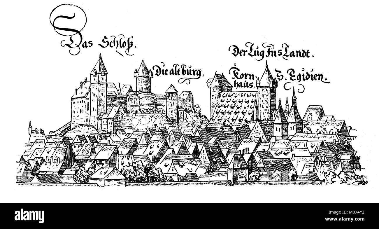 Illustration of the old castle and houses of Nuremberg, the castle, the old castle, the granary, the tower Lug into - Stock Image