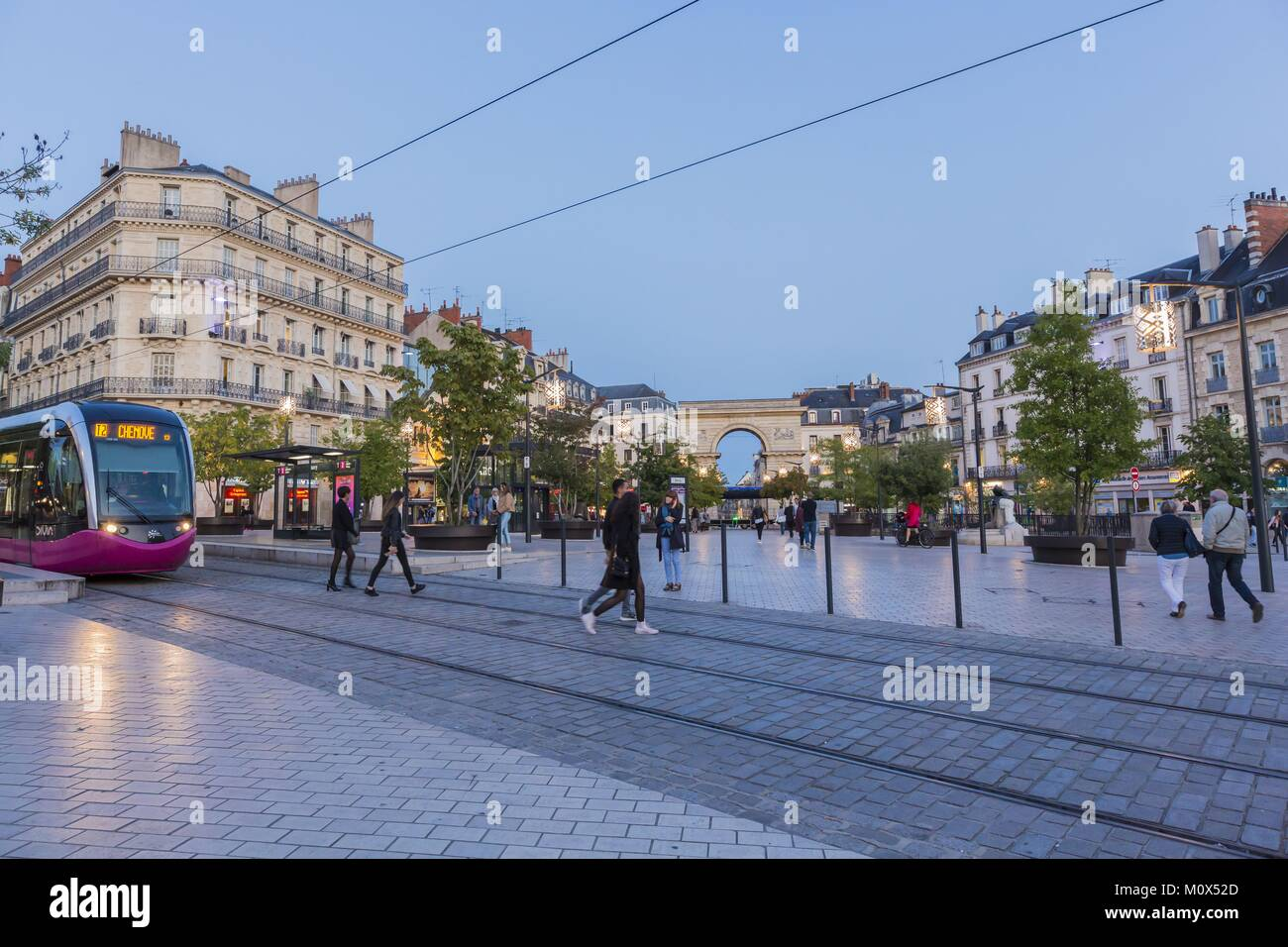 France,Cote d'Or,Cultural landscape of Burgundy climates listed as World Heritage by UNESCO,Dijon,Porte Guillaume,Place - Stock Image