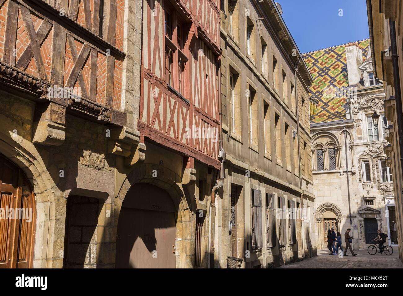 France,Côte d'Or,Dijon,street Porte aux Lions and Maison Maillard street des Forges,classified city center World Stock Photo