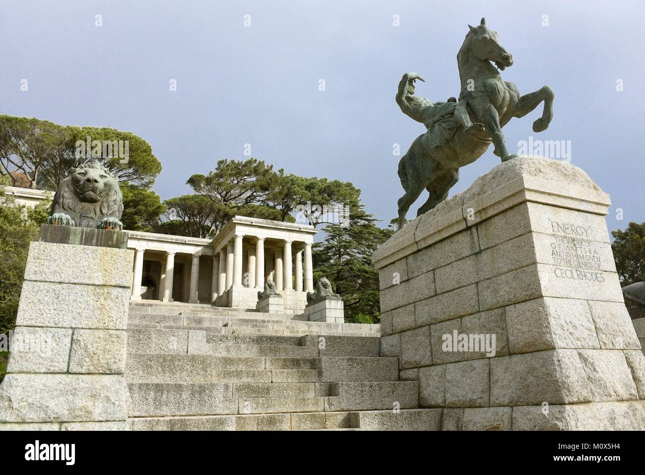 South Africa,Cape Town,Statue of Rhodes Memorial Stock Photo