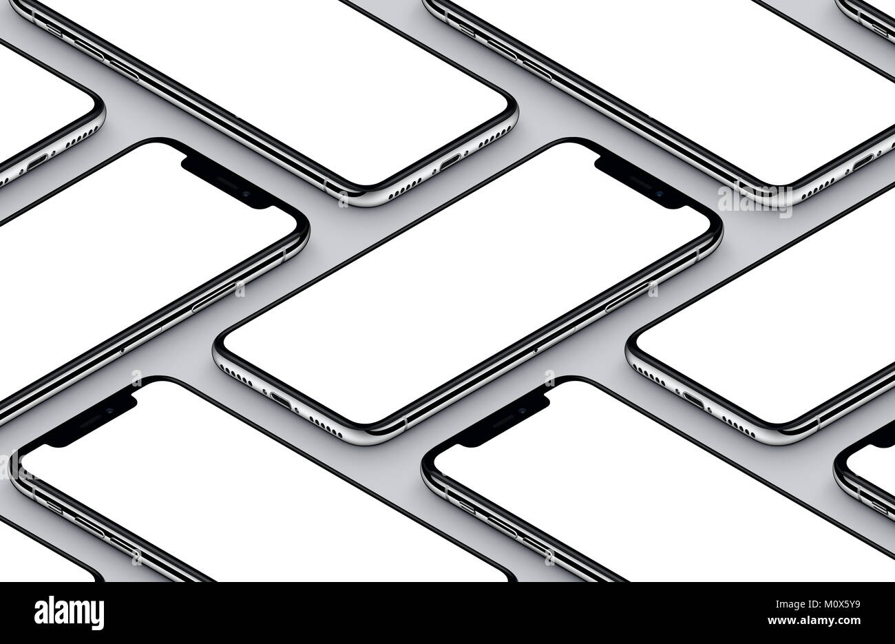 iPhone X. Perspective isometric white smartphones front sides mockup. - Stock Image
