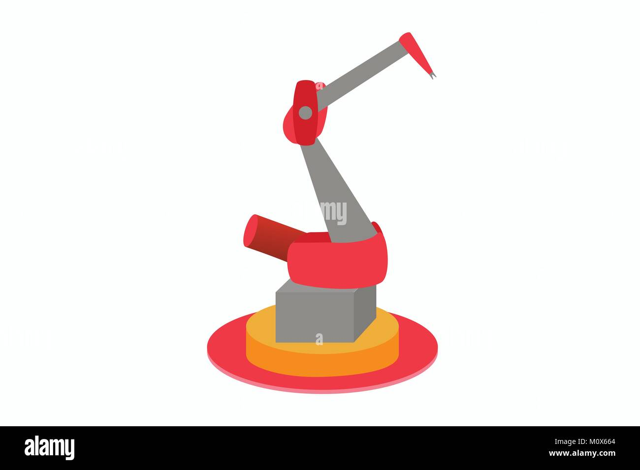 Illustration of industrial robot for assembly-line work in manufacturing leading to job cuts and mass unemployment, - Stock Vector