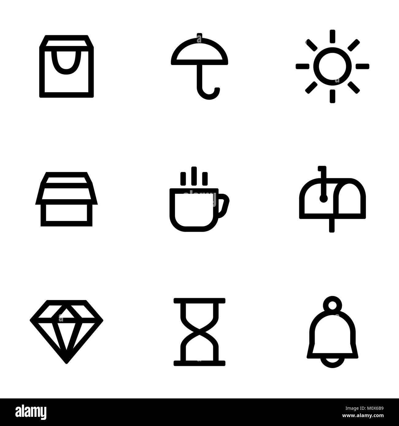 Set of icons for simple flat style ui design. - Stock Image