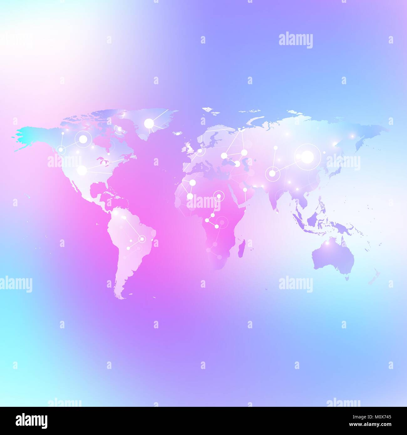 World map trendy liquid colors background. Global technology networking concept. Global network connections. Lines - Stock Vector
