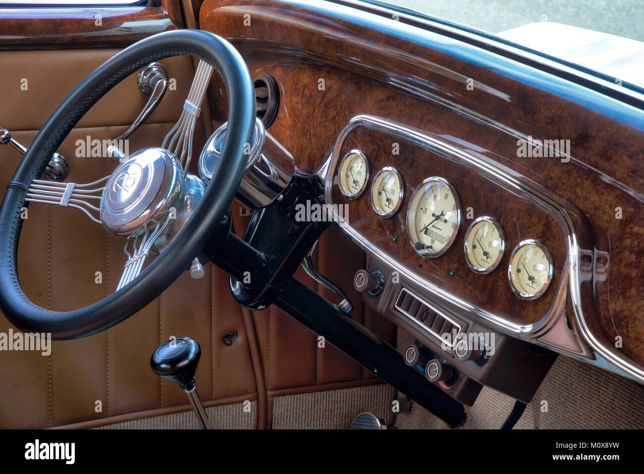 32 Ford restored. Taken in California flower field - Stock Image