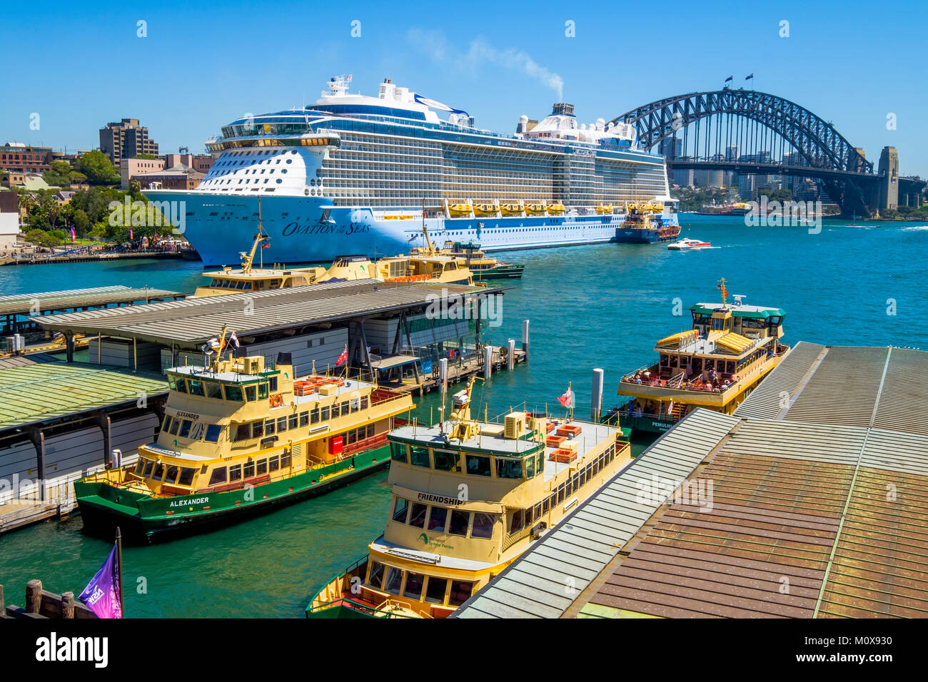 Royal Caribbean's Ovation of the Seas cruise ship moored at Overseas Passenger Terminal in Circular Quay, Sydney, - Stock Image