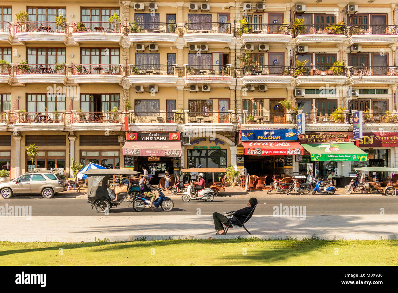 Preah Sisowath street Riverside Phnom Penh Cambodia Stock Photo
