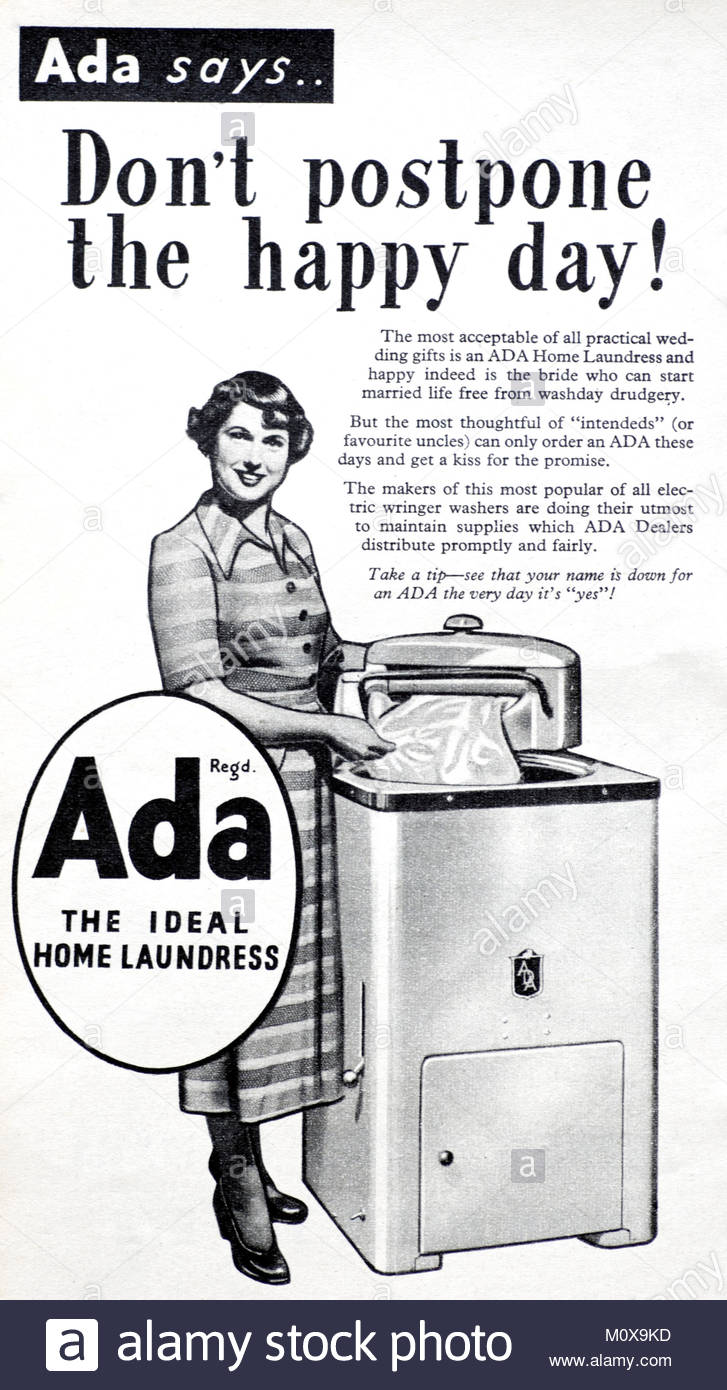 Ada electric wringer washer vintage advertising 1951 - Stock Image
