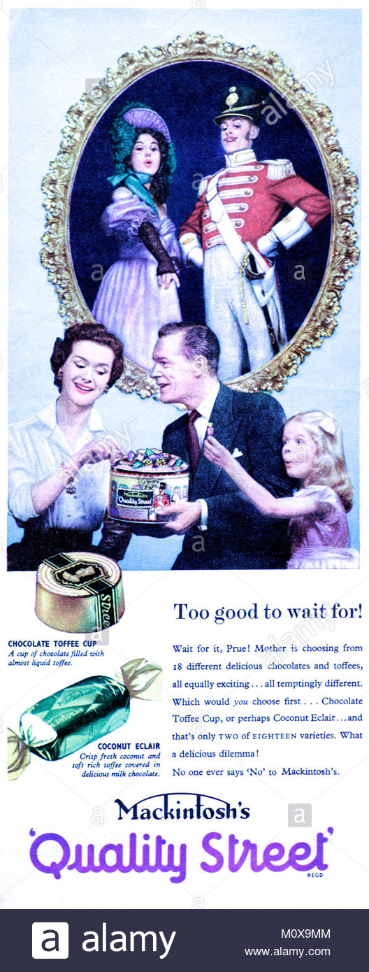Mackintosh's Quality Street chocolates vintage advertising 1955 - Stock Image