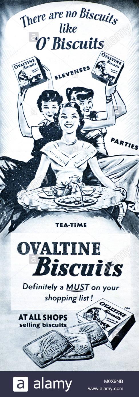 Ovaltine biscuits vintage advertising 1955 - Stock Image