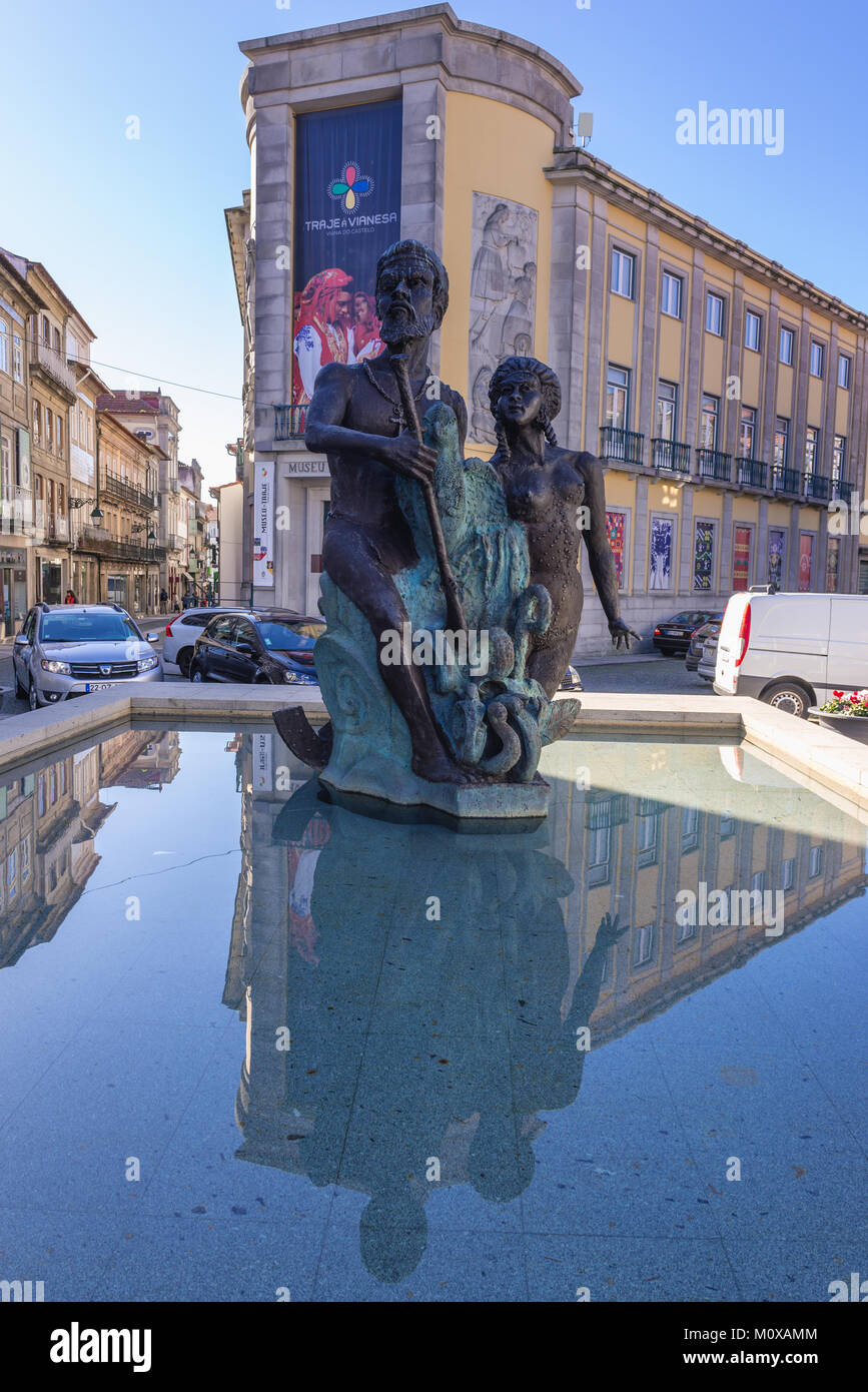 Fountain in front of Museum of Costumes (Museu do Traje) on Republic Square in Viana do Castelo city in Norte region Stock Photo