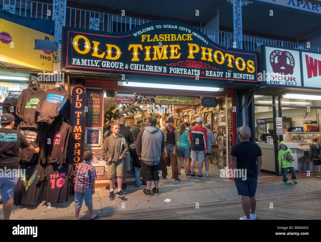 An outlet of Flashback Old Time Photos shop on the Boardwalk in Ocean City, Maryland, United States. - Stock Image