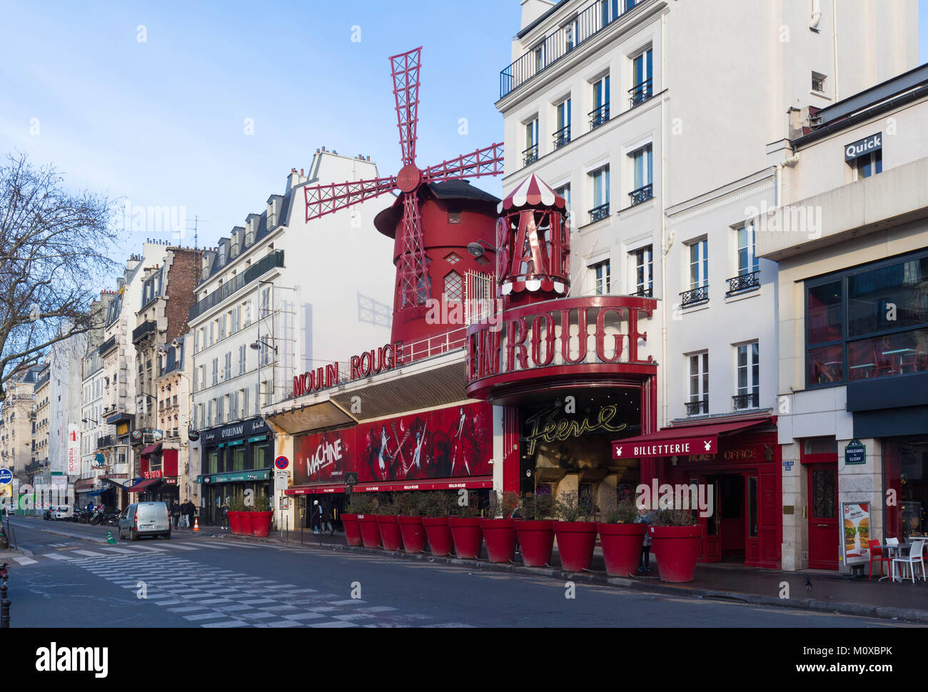 The Moulin Rouge , Paris, France. It is a famous cabaret built in 1889, locating in the Paris red-light district - Stock Image