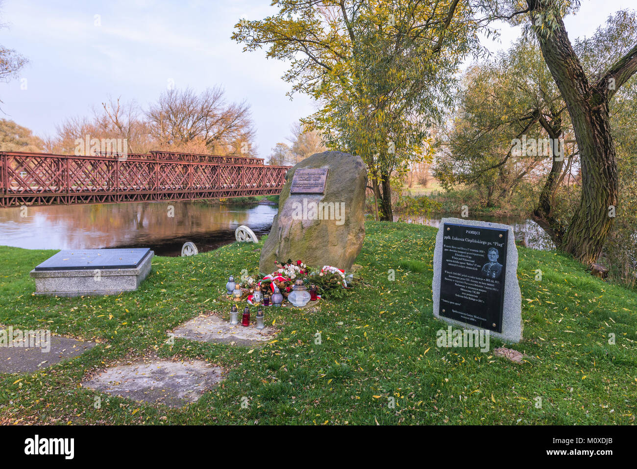 Memorial stone of Battle of the Bzura River of 1938 German Invasion of Poland in Witkowice village, Sochaczew County - Stock Image