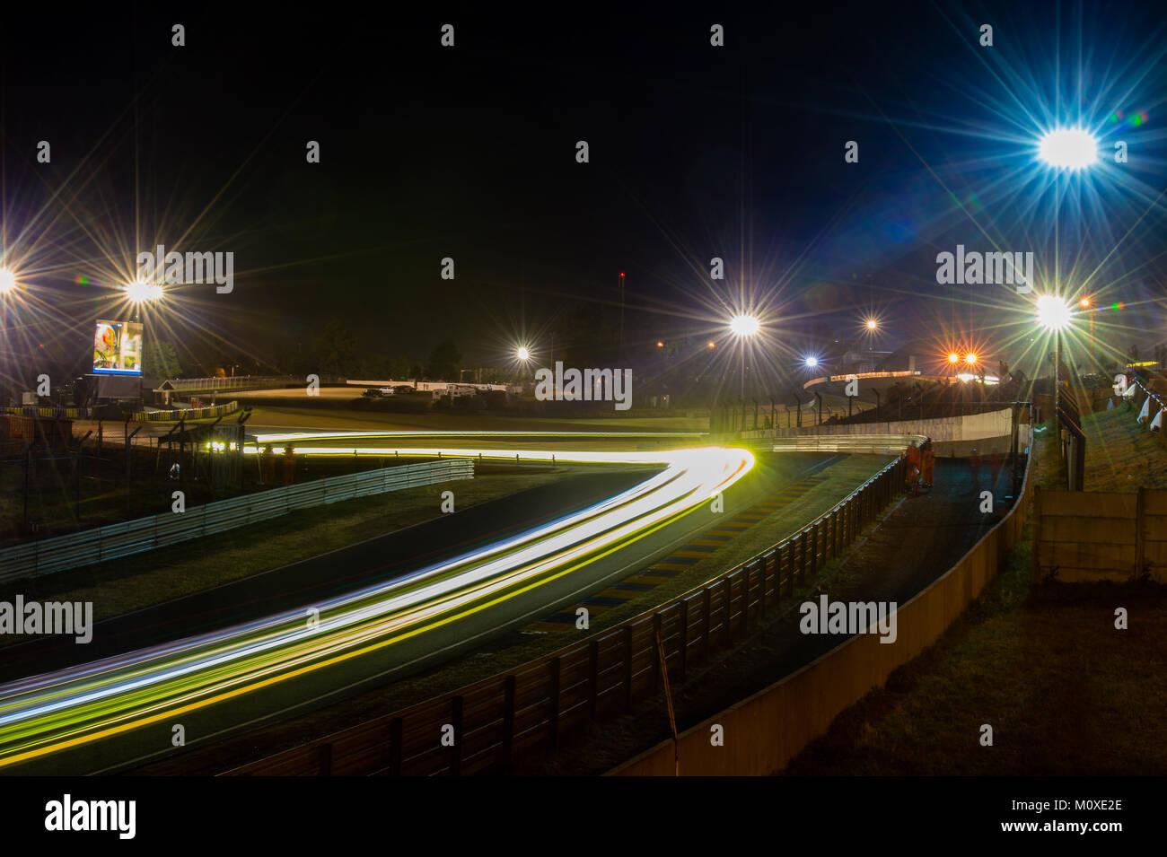 Light trails through the Esses into Tertre Rouge during the 2017 24 Hours Le Mans race at Circuit de la Sarthe on Stock Photo