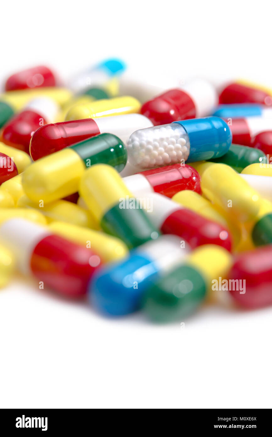 A collection of pills and tablets Stock Photo