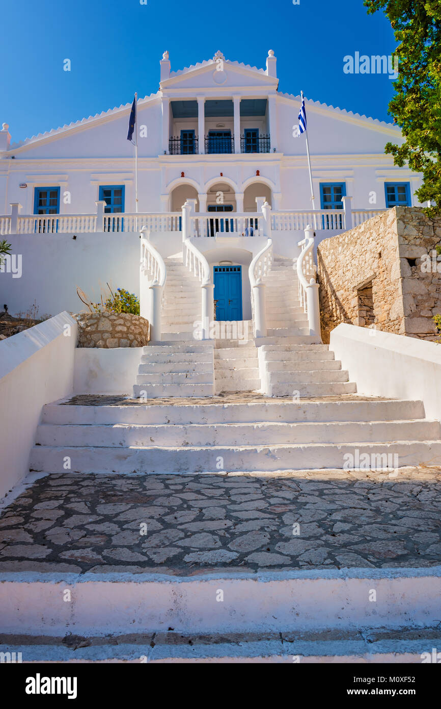 Neoclassical town hall of Nimborio on island of Halki (Greece) - Stock Image