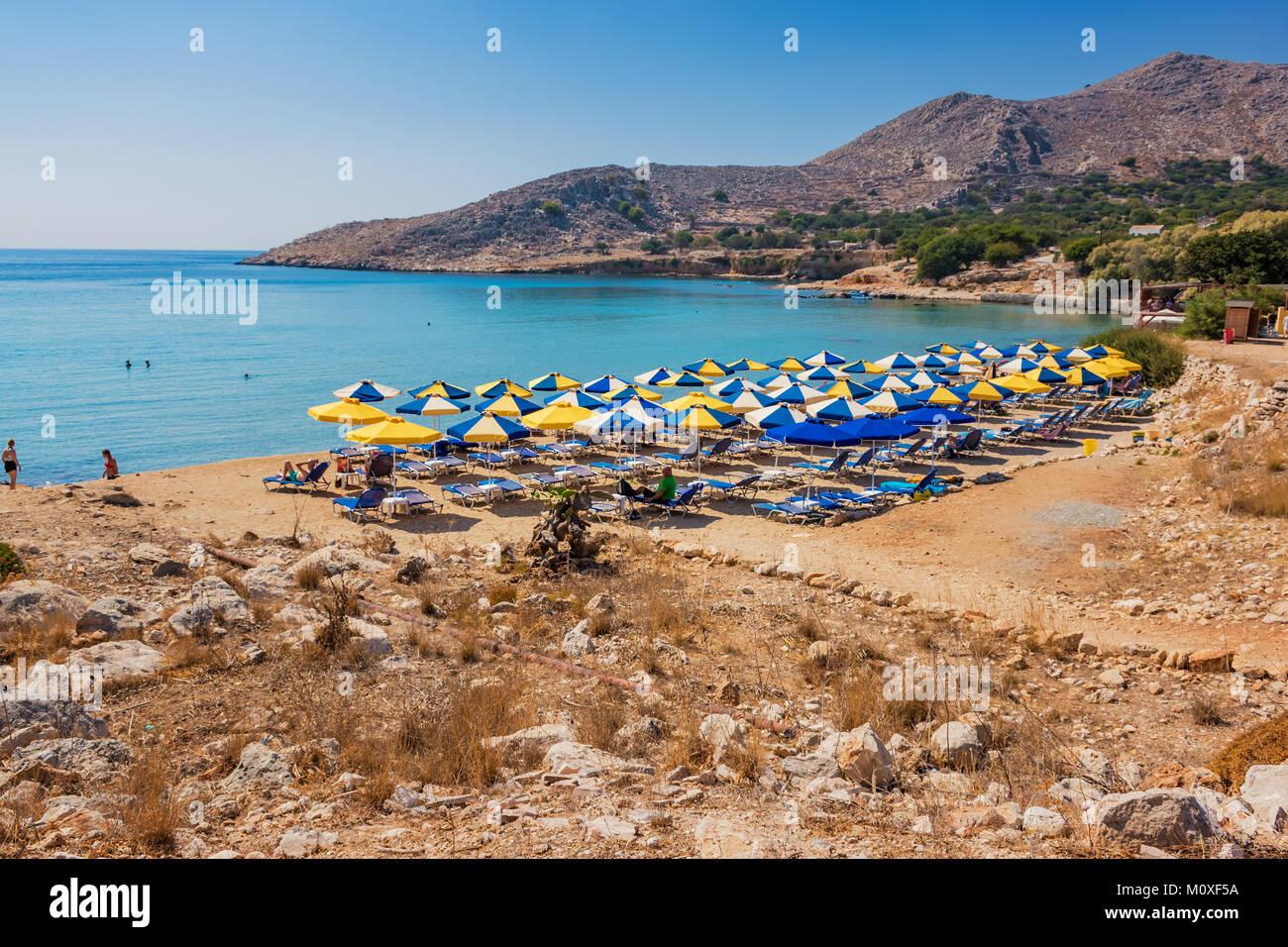 Pontamos beach - most popular beach on island of Halki (Greece) - Stock Image