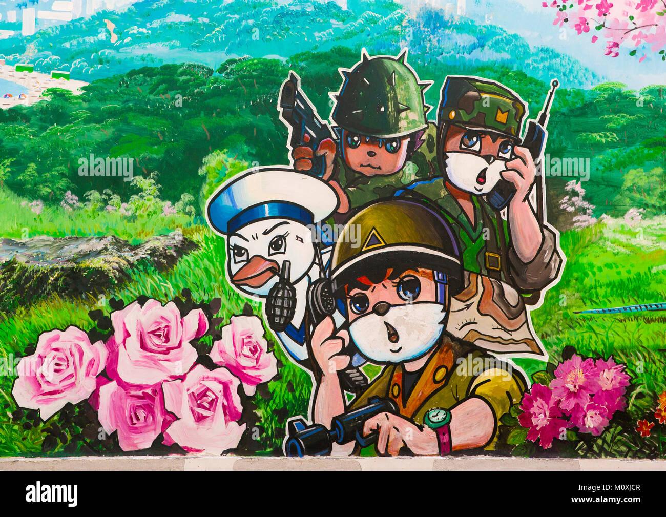 Cartoon fresco at Songdowon international children's camp, Kangwon Province, Wonsan, North Korea Stock Photo