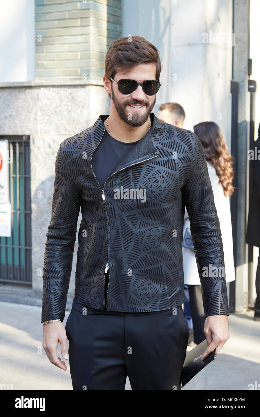 837a7bd1376 MILAN - JANUARY 13  Man with leather jacket and sunglasses before Emporio  Armani fashion show